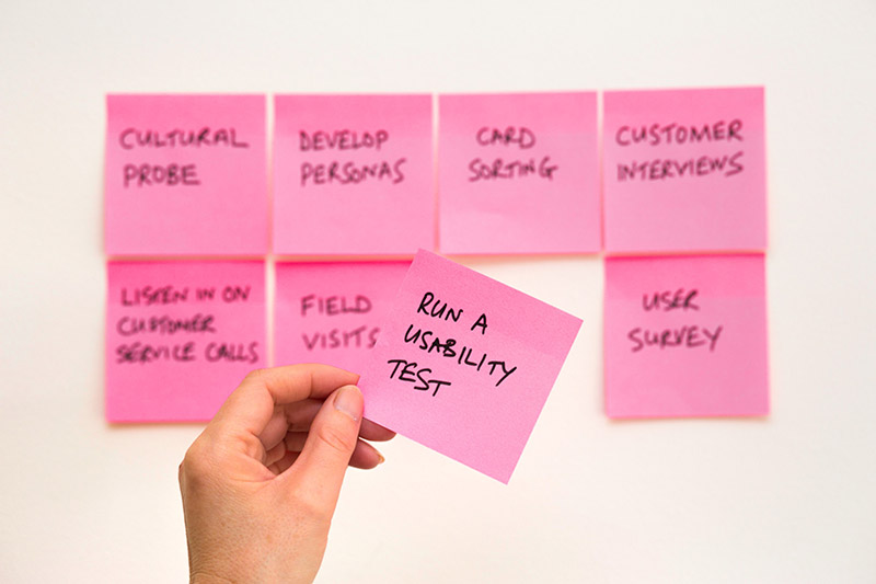 Multiple sticky notes with one that says perform a usability-test